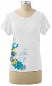 Flowering (right side print) on Short Sleeve Burnout Tee