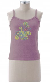 Stitched Flower on Longer Tank Top