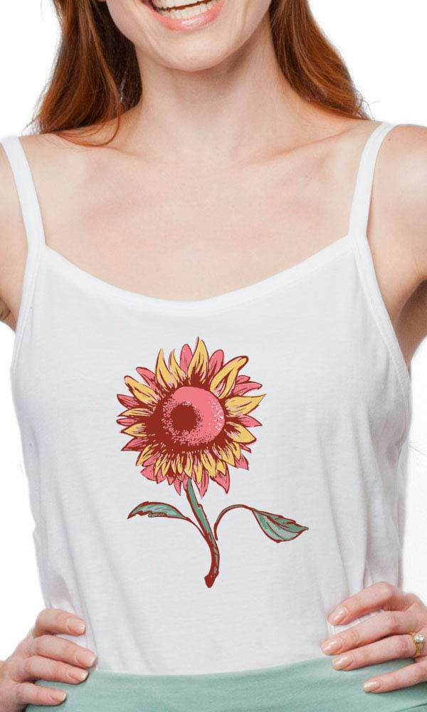 Happy Sunflower on Simple Cami