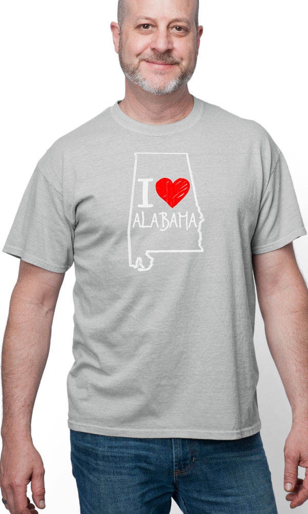 I Love Alabama on Short Sleeve Tee