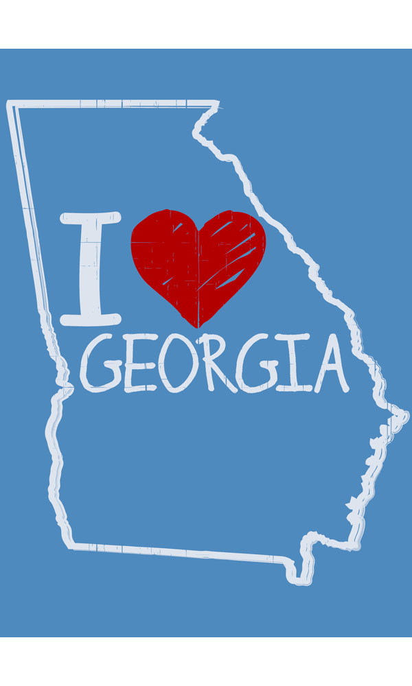 I Love GA on Short Sleeve Tee
