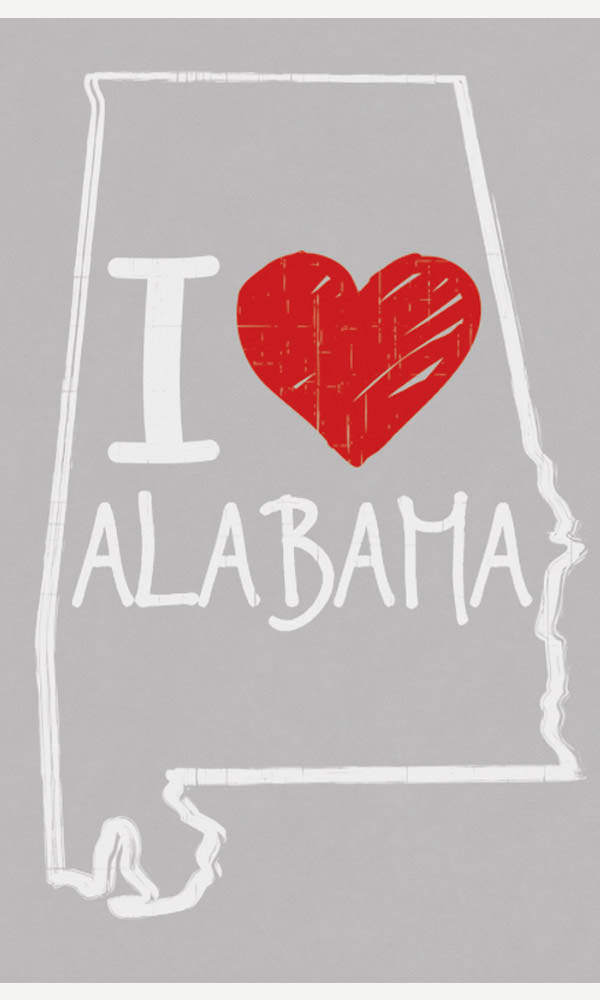 I Love Alabama on Ladies Tee