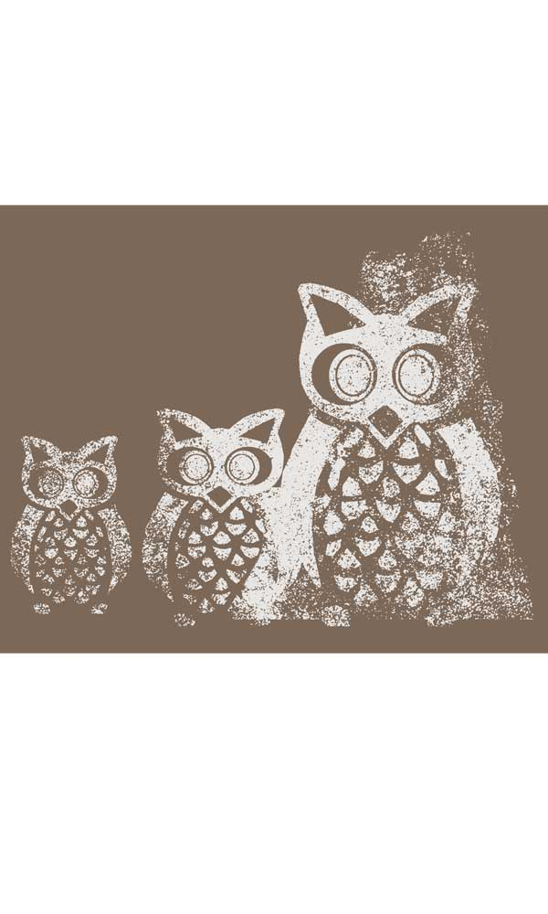 Trio of Owls on Organic Cotton Ladies Tee