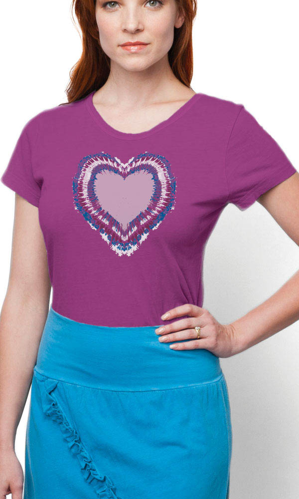 Tie Dye Heart on Ladies Contour Tee