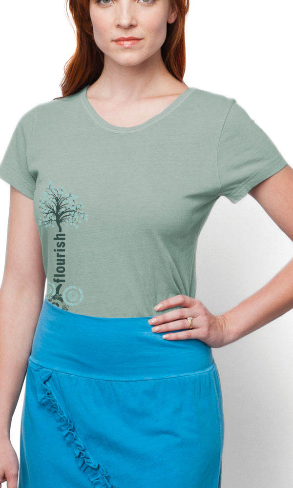 Flourish Tree on Ladies Contour Tee