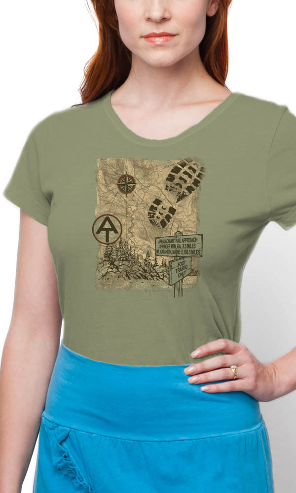 AT Trail Map on Ladies Contour Tee