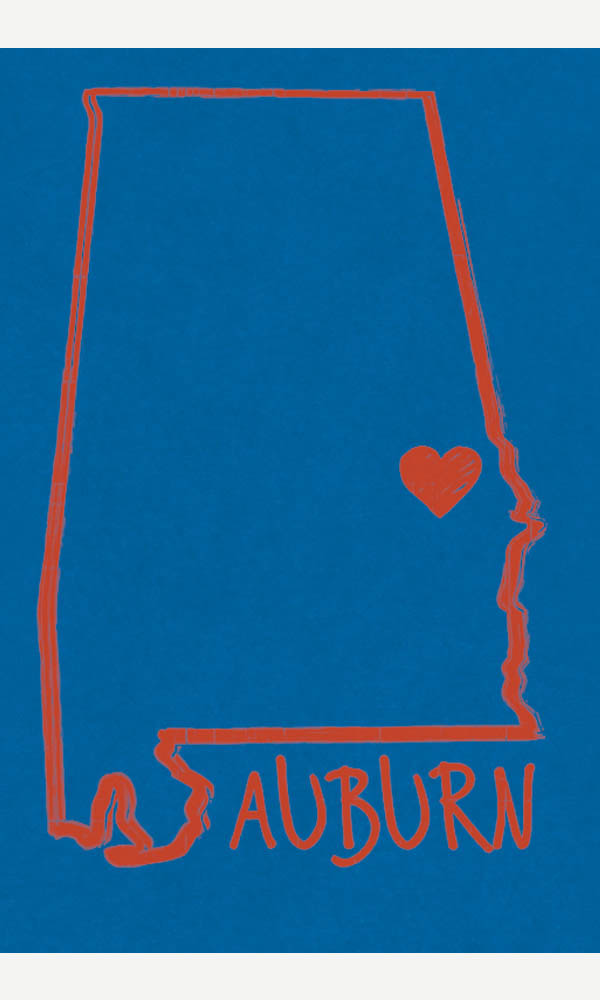 Auburn Heart on Ladies Contour Tee