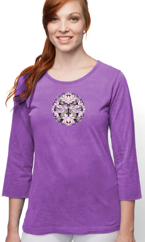 Batik Dragonfly on 3/4 Sleeve Ladies Tee