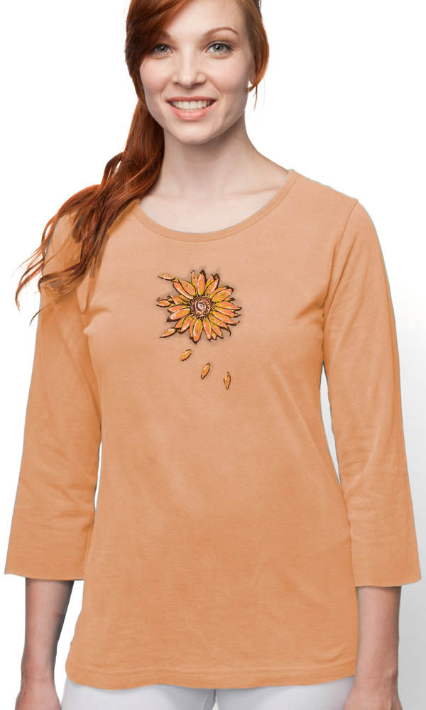 Sunflower on 3/4 Sleeve Ladies Tee