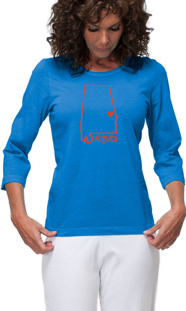 Auburn Heart on 3/4 Sleeve Ladies Tee