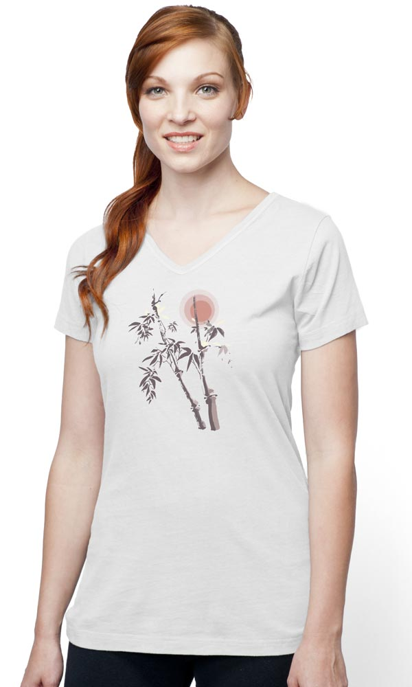 Bamboo 3 Color on Ladies Skinny Organic V-Neck
