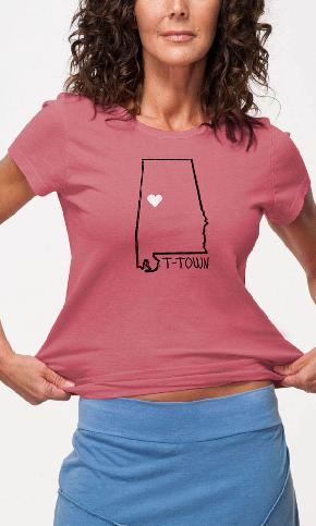 T-Town Heart on Ladies Tee