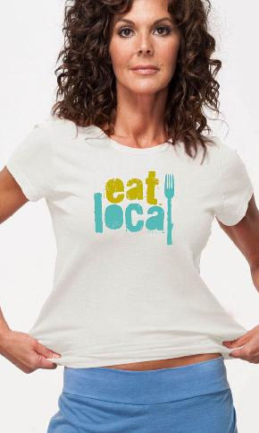 Eat Local Again on Ladies Contour Tee