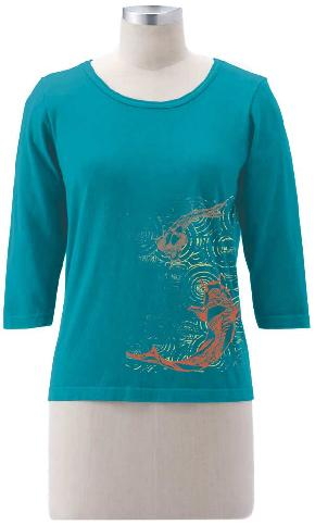 Koi Fish on 3/4 Sleeve Tee