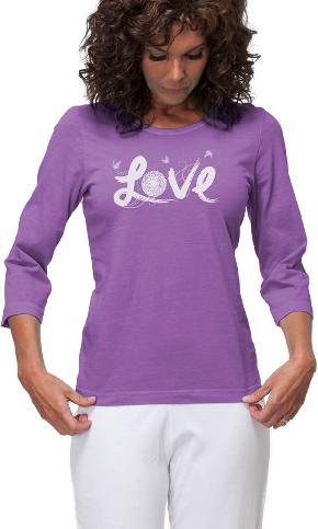 Love Flower on 3/4 Sleeve Ladies Tee