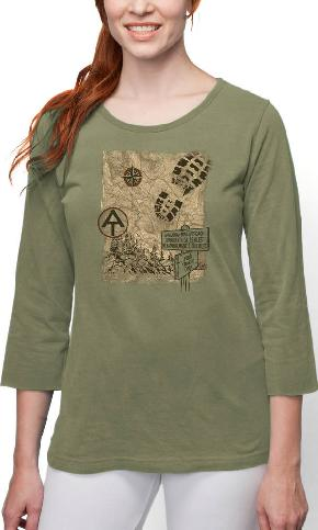 AT Trail Map on 3/4th Sleeve Ladies Tee