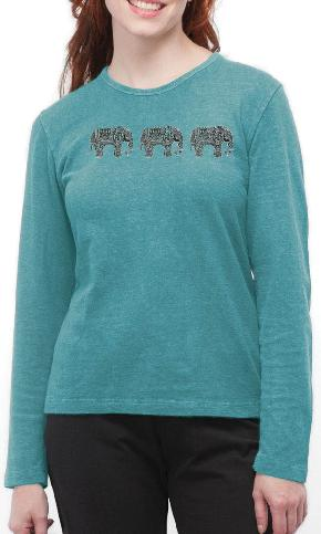 Three Elephants on Ladies Long Sleeve Tee
