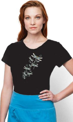 Happly Dragonflies on Ladies Skinny Organic Scoop