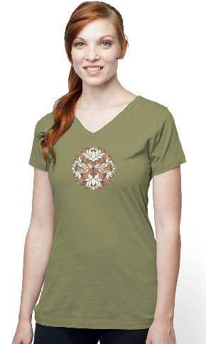 Batiked Dragonfly on Ladies Skinny Organic V-Neck