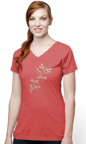 Happy Dragonflies on Ladies Skinny Organic V-Neck